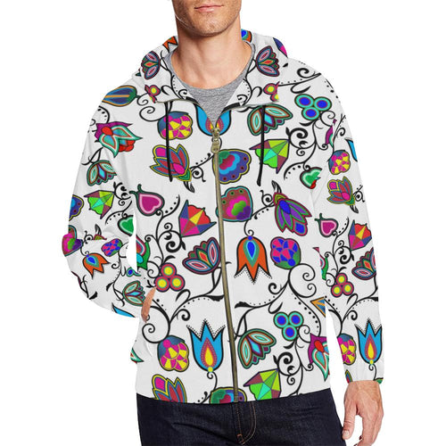 Indigenous Paisley - White All Over Print Full Zip Hoodie for Men (Model H14) All Over Print Full Zip Hoodie for Men (H14) e-joyer