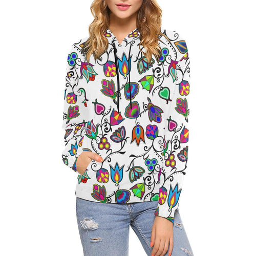 Indigenous Paisley - White All Over Print Hoodie for Women (USA Size) (Model H13) All Over Print Hoodie for Women (H13) e-joyer