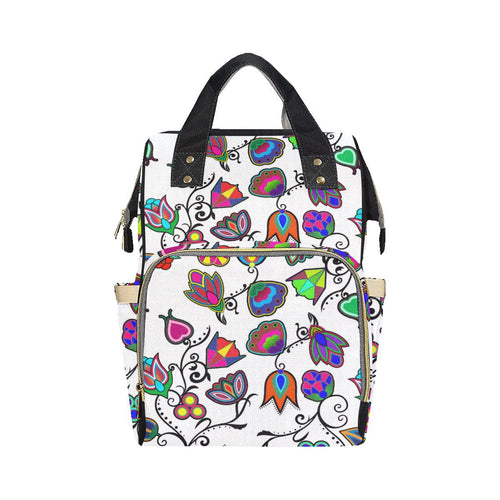 Indigenous Paisley - White Multi-Function Diaper Backpack (Model 1688) Diaper Backpack (1688) e-joyer
