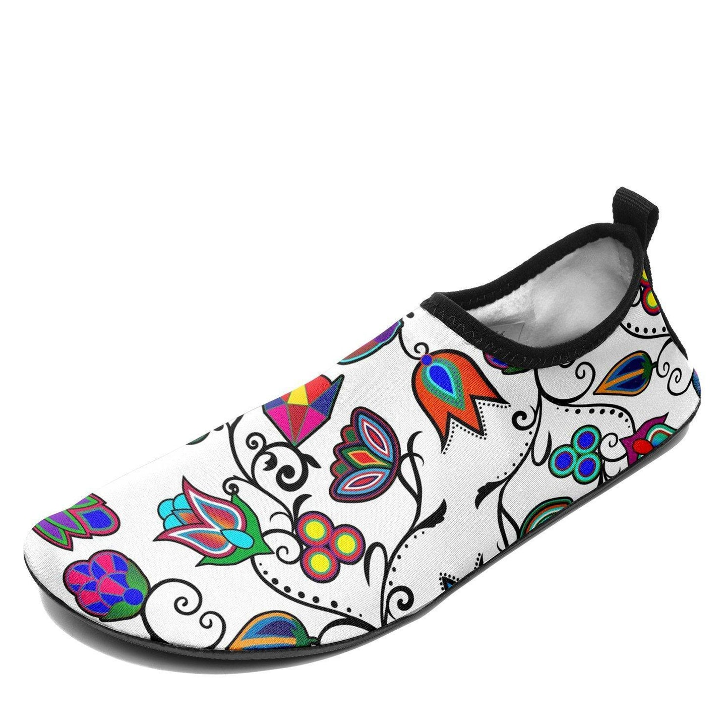 Indigenous Paisley White Sockamoccs Kid's Slip On Shoes 49 Dzine