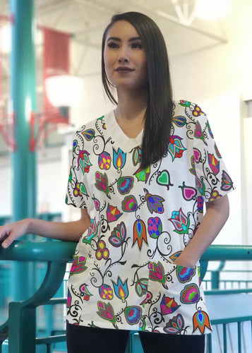 Indigenous Paisley White Women's V-Neck Scrub Top 49 Dzine
