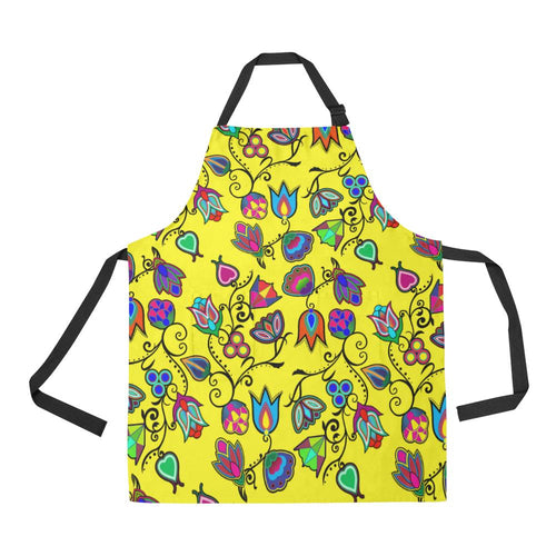Indigenous Paisley Yellow All Over Print Apron All Over Print Apron e-joyer