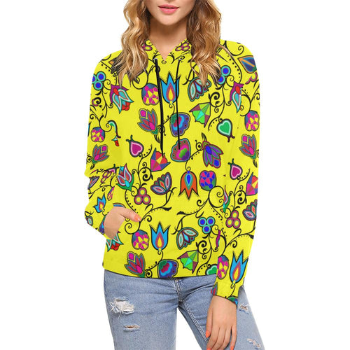 Indigenous Paisley - Yellow All Over Print Hoodie for Women (USA Size) (Model H13) All Over Print Hoodie for Women (H13) e-joyer