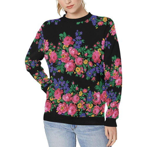 Kokum's Revenge-Black Women's Rib Cuff Crew Neck Sweatshirt (Model H34) Rib Cuff Crew Neck Sweatshirt for Women (H34) e-joyer