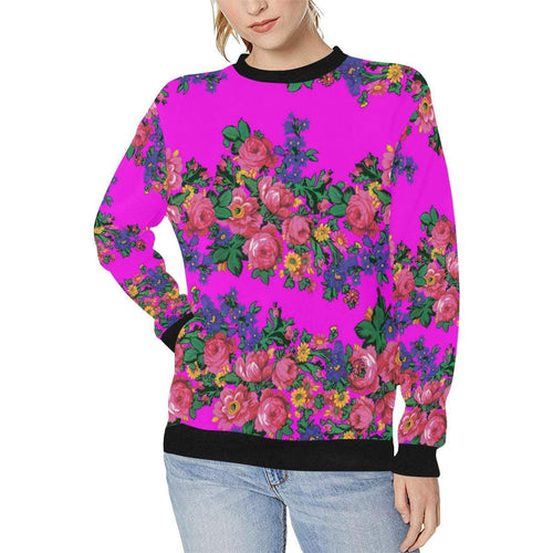 Kokum's Revenge Blush Women's Rib Cuff Crew Neck Sweatshirt (Model H34) Rib Cuff Crew Neck Sweatshirt for Women (H34) e-joyer