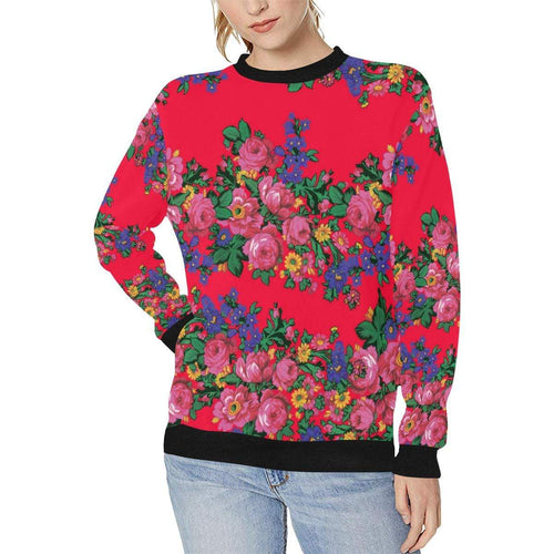 Kokum's Revenge- Dahlia Women's Rib Cuff Crew Neck Sweatshirt (Model H34) Rib Cuff Crew Neck Sweatshirt for Women (H34) e-joyer