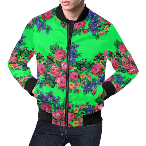 Kokum's Revenge Green All Over Print Bomber Jacket for Men/Large Size (Model H19) All Over Print Bomber Jacket for Men/Large (H19) e-joyer