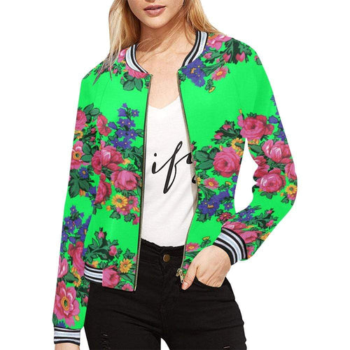 Kokum's Revenge Green All Over Print Bomber Jacket for Women (Model H21) All Over Print Bomber Jacket for Women (H21) e-joyer