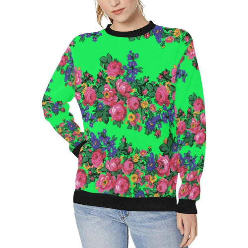 Kokum's Revenge Green Women's Rib Cuff Crew Neck Sweatshirt (Model H34) Rib Cuff Crew Neck Sweatshirt for Women (H34) e-joyer