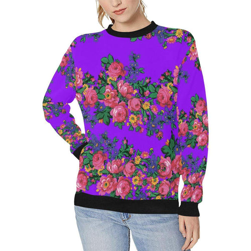 Kokum's Revenge-Lilac Women's Rib Cuff Crew Neck Sweatshirt (Model H34) Rib Cuff Crew Neck Sweatshirt for Women (H34) e-joyer