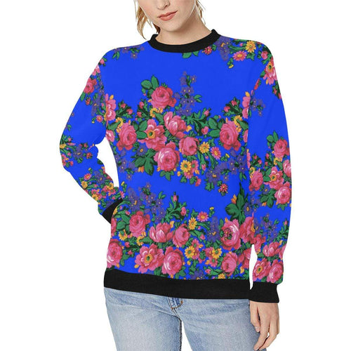 Kokum's Revenge- Royal Women's Rib Cuff Crew Neck Sweatshirt (Model H34) Rib Cuff Crew Neck Sweatshirt for Women (H34) e-joyer