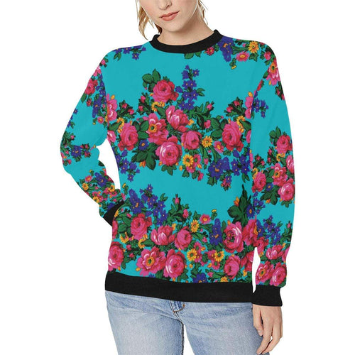 Kokum's Revenge-Sky Women's Rib Cuff Crew Neck Sweatshirt (Model H34) Rib Cuff Crew Neck Sweatshirt for Women (H34) e-joyer