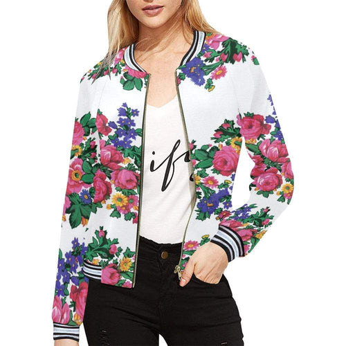 Kokum's Revenge-White All Over Print Bomber Jacket for Women (Model H21) All Over Print Bomber Jacket for Women (H21) e-joyer