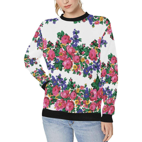 Kokum's Revenge-White Women's Rib Cuff Crew Neck Sweatshirt (Model H34) Rib Cuff Crew Neck Sweatshirt for Women (H34) e-joyer