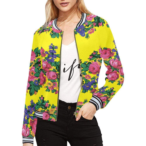 Kokum's Revenge-Yellow All Over Print Bomber Jacket for Women (Model H21) All Over Print Bomber Jacket for Women (H21) e-joyer