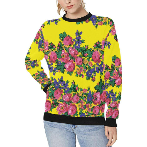 Kokum's Revenge-Yellow Women's Rib Cuff Crew Neck Sweatshirt (Model H34) Rib Cuff Crew Neck Sweatshirt for Women (H34) e-joyer