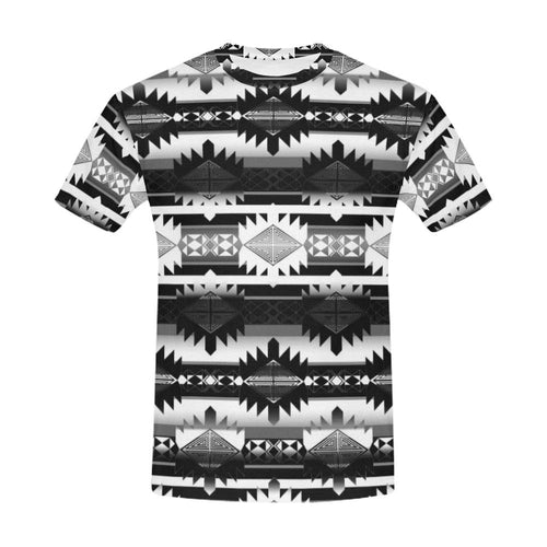 Okotoks Black and White All Over Print T-Shirt for Men (USA Size) (Model T40) All Over Print T-Shirt for Men (T40) e-joyer