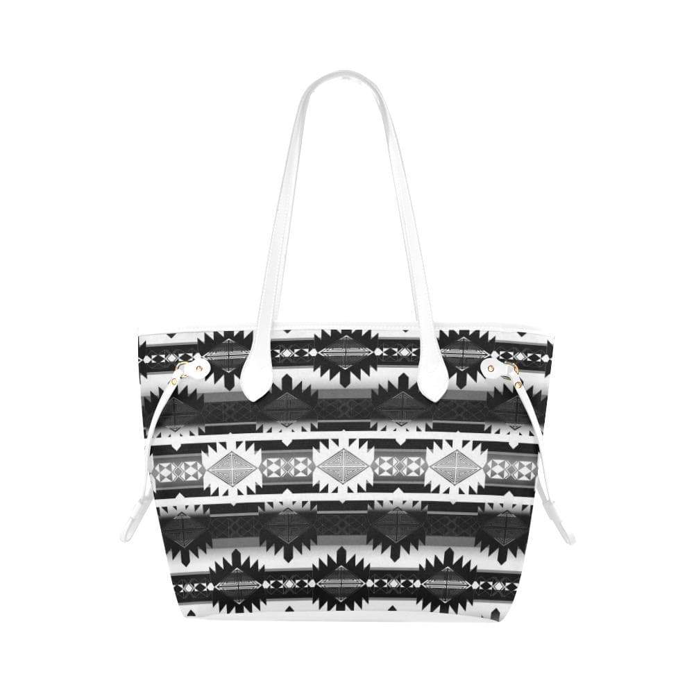 Okotoks Black and White Clover Canvas Tote Bag (Model 1661) Clover Canvas Tote Bag (1661) e-joyer