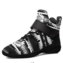Okotoks Black and White Kid's Ipottaa Basketball / Sport High Top Shoes 49 Dzine US Child 12.5 / EUR 30 Black Sole with Black Strap