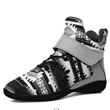 Okotoks Black and White Kid's Ipottaa Basketball / Sport High Top Shoes 49 Dzine US Child 12.5 / EUR 30 Black Sole with Gray Strap