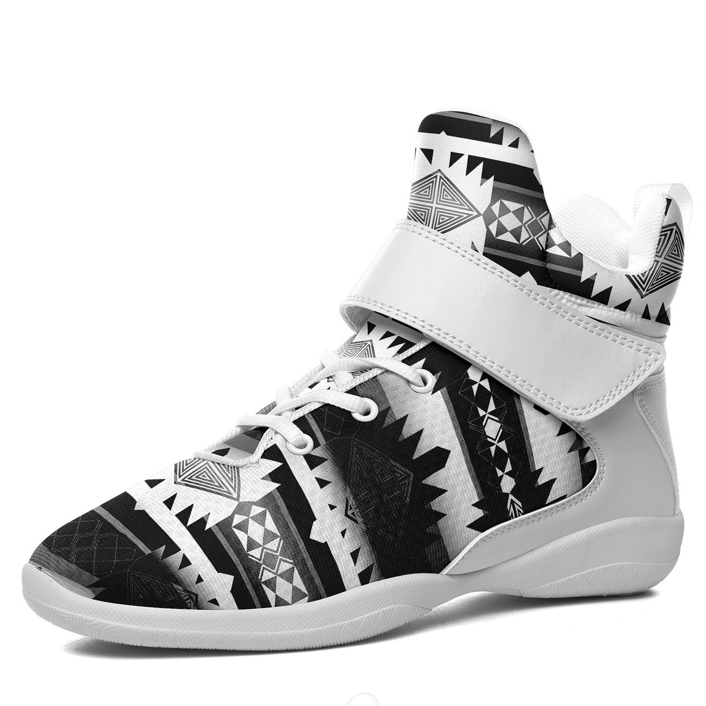 Okotoks Black and White Kid's Ipottaa Basketball / Sport High Top Shoes 49 Dzine US Child 12.5 / EUR 30 White Sole with White Strap