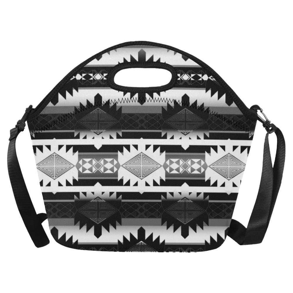 Okotoks Black and White Neoprene Lunch Bag/Large (Model 1669) Neoprene Lunch Bag/Large (1669) e-joyer