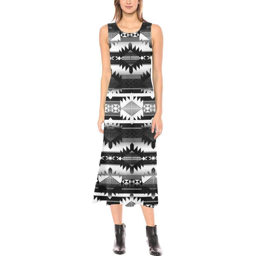 Okotoks Black and White Phaedra Sleeveless Open Fork Long Dress (Model D08) Phaedra Sleeveless Open Fork Long Dress (D08) e-joyer