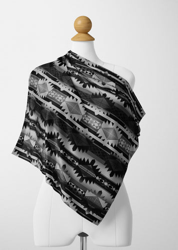 Okotoks Black and White Satin Shawl Scarf 49 Dzine