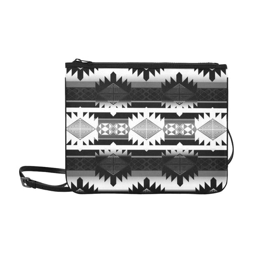 Okotoks Black and White Slim Clutch Bag (Model 1668) Slim Clutch Bags (1668) e-joyer