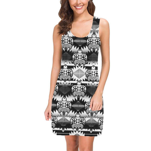 Okotoks Black and White Turtles Ikstsímiwa Vest Dress (Model D06) Medea Vest Dress (D06) e-joyer