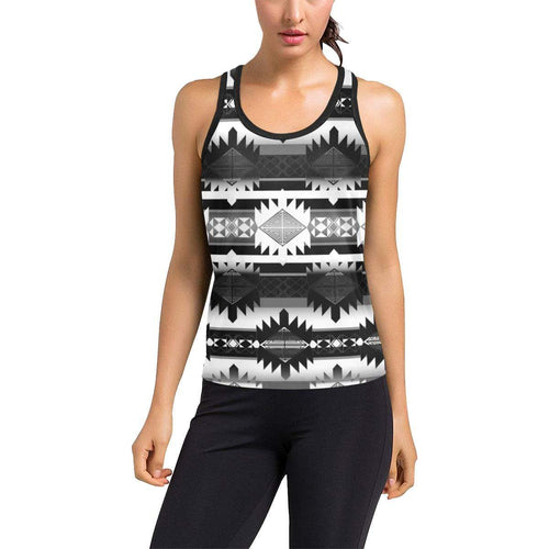 Okotoks Black and White Women's Racerback Tank Top (Model T60) Racerback Tank Top (T60) e-joyer
