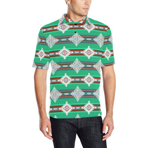 Plateau Stars Men's All Over Print Polo Shirt (Model T55) Men's Polo Shirt (Model T55) e-joyer