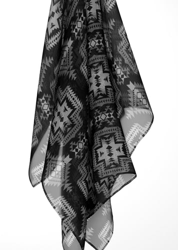 Pretty Blanket Black and White Large Square Chiffon Scarf fashion-scarves 49 Dzine