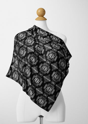 Pretty Blanket Black and White Satin Shawl Scarf 49 Dzine