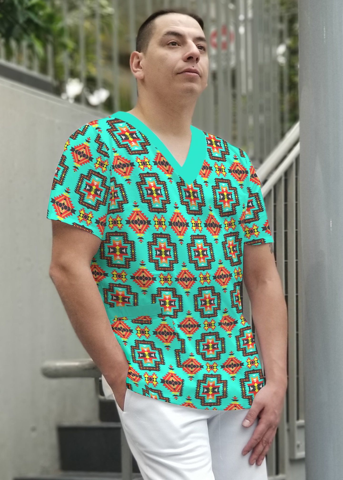 Pretty Blanket Jungle Men's Scrub Top dresses 49 Dzine
