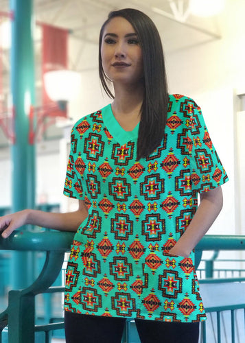 Pretty Blanket Jungle Women's V-Neck Scrub Top 49 Dzine