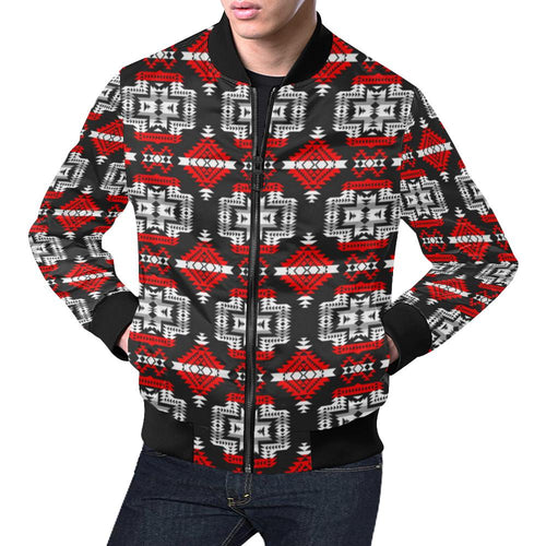Pretty Blanket Red Stripe All Over Print Bomber Jacket for Men/Large Size (Model H19) All Over Print Bomber Jacket for Men/Large (H19) e-joyer