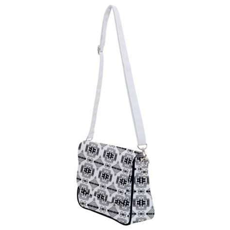 Pretty Blanket White and Black Shoulder Bag with Back Zipper 49 Dzine