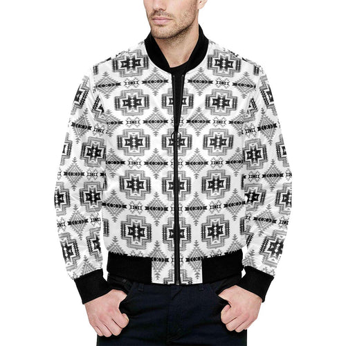 Pretty Blanket White and Black Unisex Heavy Bomber Jacket with Quilted Lining All Over Print Quilted Jacket for Men (H33) e-joyer