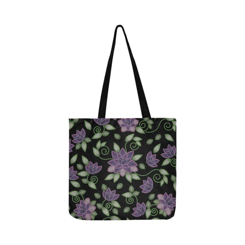 Purple Beaded Rose Reusable Shopping Bag Model 1660 (Two sides) Shopping Tote Bag (1660) e-joyer