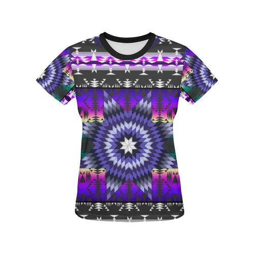 Purple Star All Over Print T-shirt for Women/Large Size (USA Size) (Model T40) All Over Print T-Shirt for Women/Large (T40) e-joyer