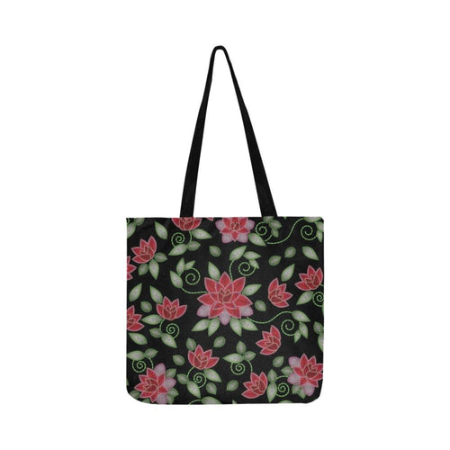 Red Beaded Rose Reusable Shopping Bag Model 1660 (Two sides) Shopping Tote Bag (1660) e-joyer