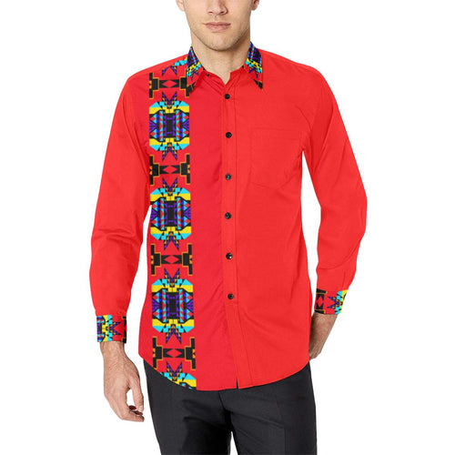Red Blanket Strip II Men's All Over Print Casual Dress Shirt (Model T61) Men's Dress Shirt (T61) e-joyer