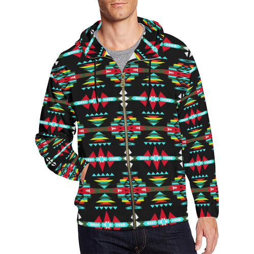 River Trail Sunset All Over Print Full Zip Hoodie for Men (Model H14) All Over Print Full Zip Hoodie for Men (H14) e-joyer