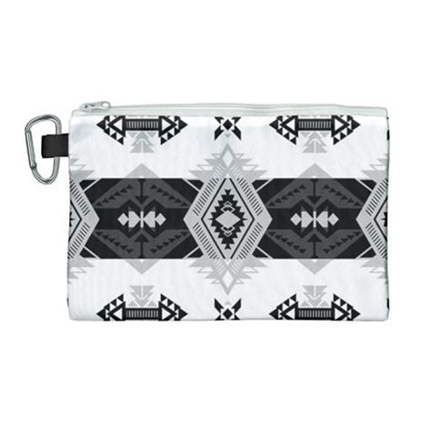 Sovereign Nation Black and White Canvas Cosmetic Bag (Large) cosmetic-bags 49 Dzine