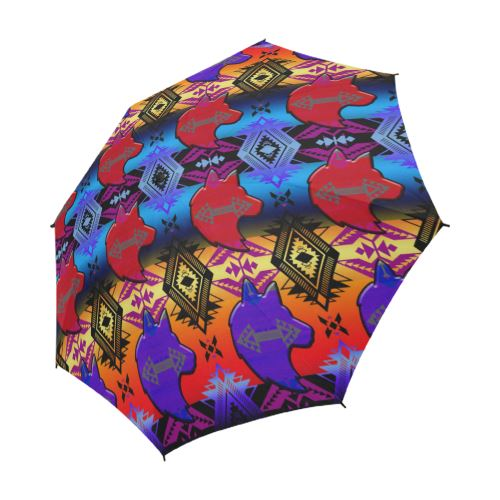 Soveriegn Nation Sunset with Wolf Semi-Automatic Foldable Umbrella Semi-Automatic Foldable Umbrella e-joyer
