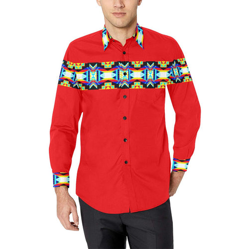Strip for Shirt Red-1 Men's All Over Print Casual Dress Shirt (Model T61) Men's Dress Shirt (T61) e-joyer