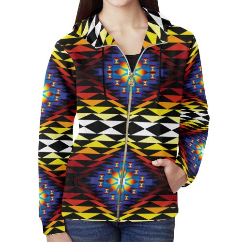 Sunset Blanket All Over Print Full Zip Hoodie for Women (Model H14) All Over Print Full Zip Hoodie for Women (H14) e-joyer