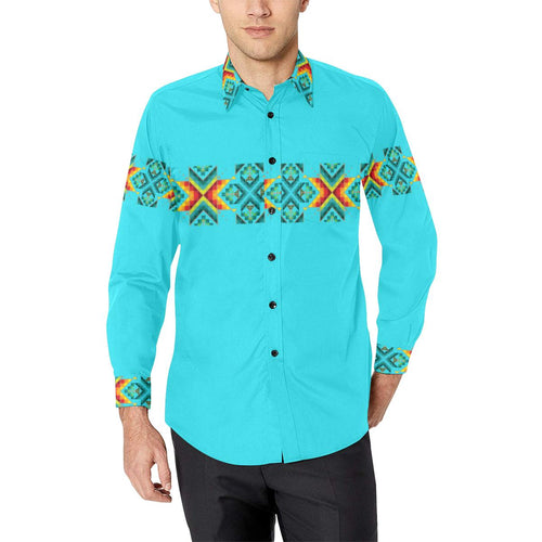 Turquoise Blanket Strip-1 Men's All Over Print Casual Dress Shirt (Model T61) Men's Dress Shirt (T61) e-joyer