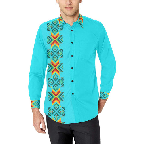 Turquoise Blanket Strip Men's All Over Print Casual Dress Shirt (Model T61) Men's Dress Shirt (T61) e-joyer